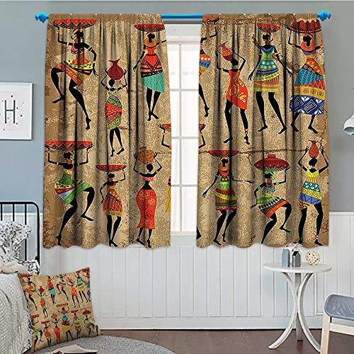 SeptSonne Afro African American History Art Decor Window Curtain Drape Afrocentric Artwork Women in Tribal Dresses Carrying Water Decorative Curtains for Living Room 52 x63 Camel Red Green Brown
