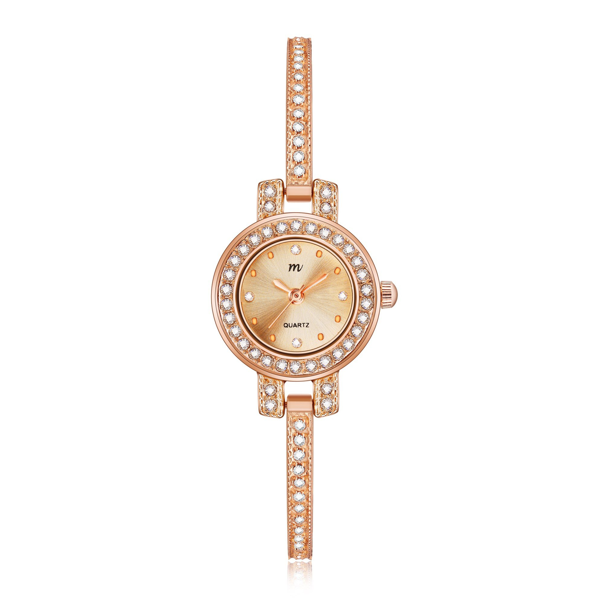 MW Women's 'Tiny Charm' Quartz Rose Gold Casual Wrist Watch, Small Round Case and Bangle with Crystal, Fashion Dress Bracelet Watches for Women Ladies