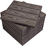 WOLTU Suelo de WPC Set de 11 Baldosas de Madera Exterior para Porche Patios Jardin, 30 x 30 cm 1m² Suelo de Exterior…