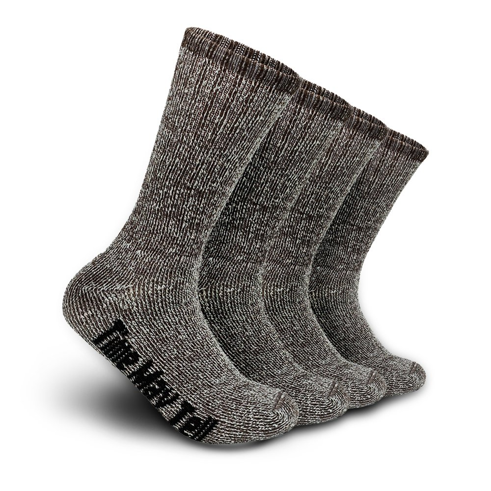 Time May Tell Mens Merino Wool Hiking Cushion Socks Pack (2/4 Pair,6-13 Size) (Brown(2 pairs), US Size 9.5~13) by Time May Tell