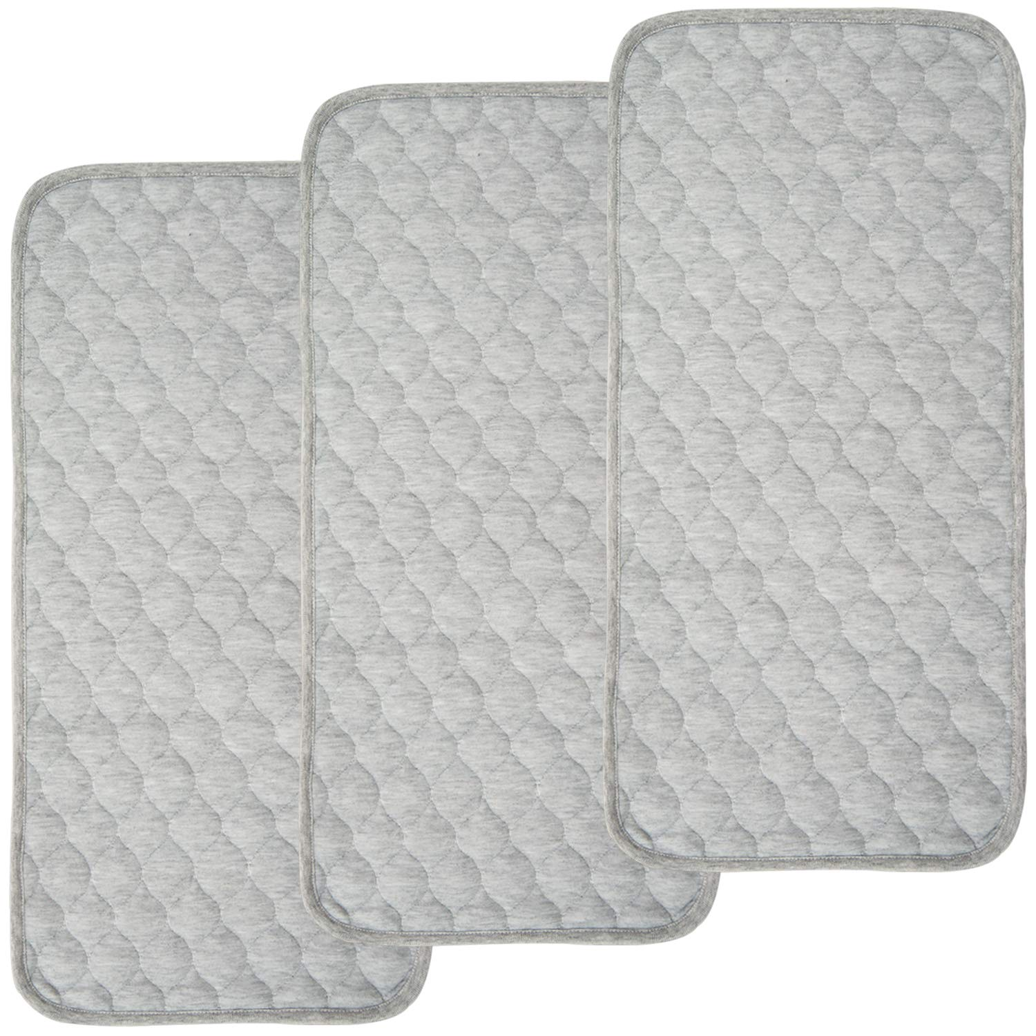 BlueSnail Bamboo Rayon Quilted Thicker Longer Waterproof Changing Pad Liners for Babies 3 Count (Heather Gray) by BlueSnail
