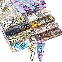 Anjetan 10 Sheets Animal Skin Nail Art Foil DIY Leopard Nail Foil Nail Transfer Sticker Nail Decor