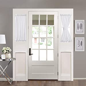 Home Brilliant Sidelight Door Panel Striped Semi Sheer White Window Treatments French Door Curtains for Privacy (2 Panels, 30