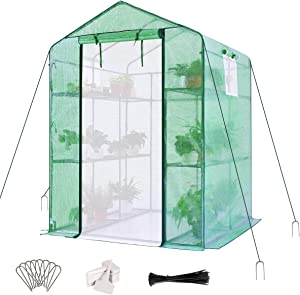 "Quictent Greenhouse Mesh Door 3 Windows 3 Tiers 12 Shelves 56"" W x 56"" D x 77"" H Walk in Outdoor Portable Plant Garden Green House 50 T-Type Plant Tags 10 Stakes 4 Ropes Include (Green)"