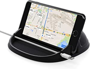 Lanhiem Car Phone Holder, Car Phone Mount Dashboard Mat, Anti-Slip Reusable Silicone Rubber Phone Stand Compatible with iPhone, Samsung, Android Cell Phones, GPS Devices and More