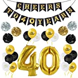 "Unomor 40th Birthday Decorations Party Supplies-40th Birthday Balloons, 40th Birthday ""CHEERS TO 40 YEARS"" Banner, 40th Gold Number Balloons with Paper Flowers Balls For 40th Birthday Party Decoration"