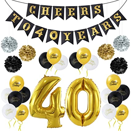 Unomor 40th Birthday Decorations Party Supplies Balloons Cheers To