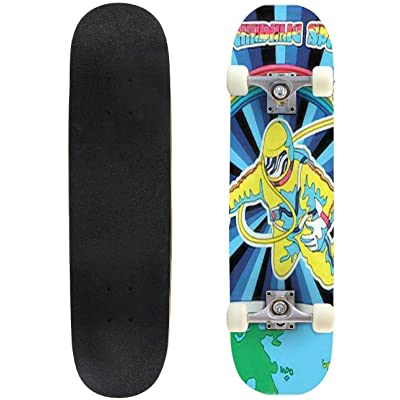 Classic Concave Skateboard Psychedelic Space Astronaut in Outer Space Colorful Poster 1960s Style Longboard Maple Deck Extreme Sports and Outdoors Double Kick Trick for Beginners and Professionals : Sports & Outdoors