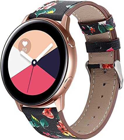 Compatible with Galaxy Watch Active Bands/Garmin Vivoactive 3 Band Leather,20mm Replacement Strap Band Compatible with Samsung Galaxy Watch Active ...