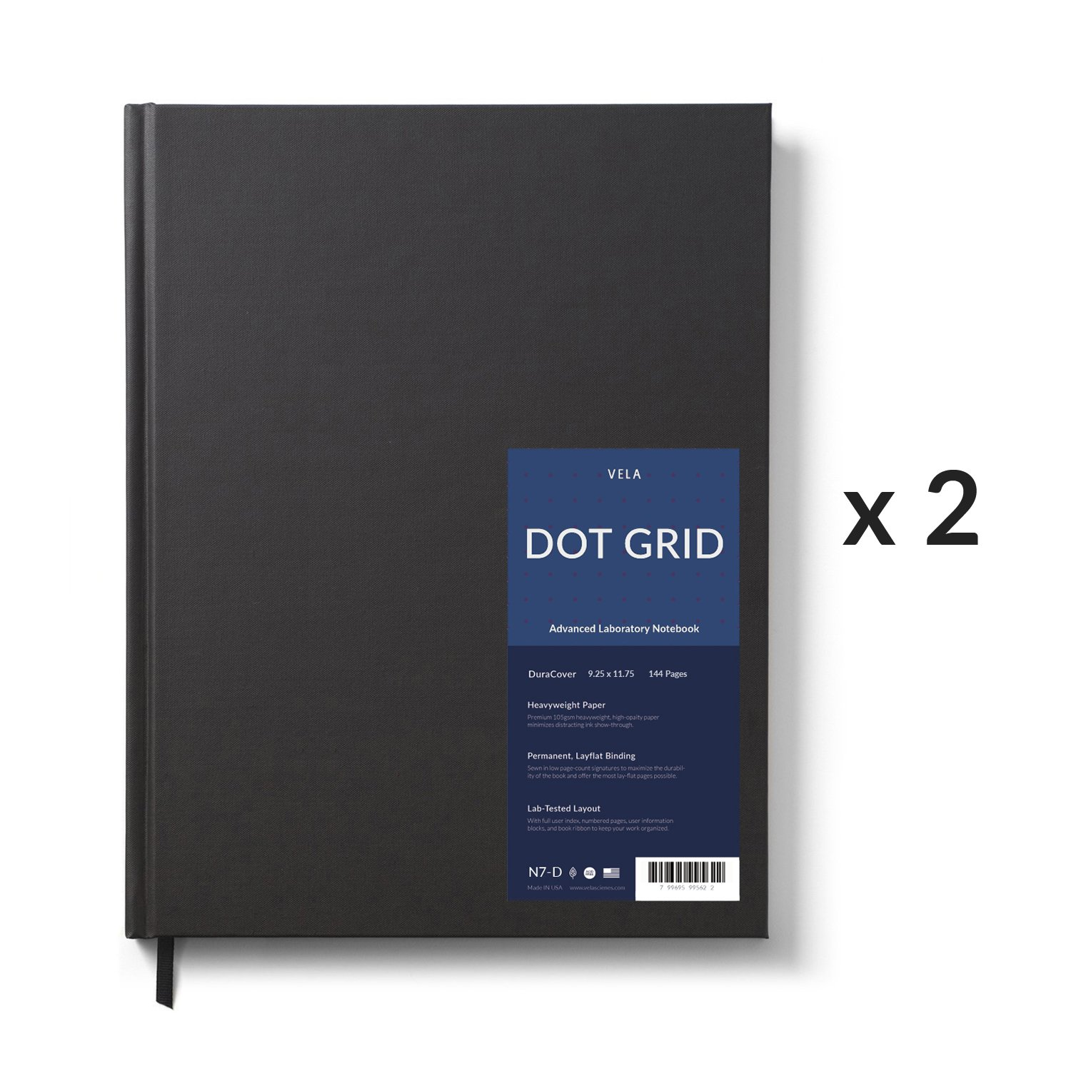 Vela Sciences Advanced DuraCover Lab Notebook, 9.25 x 11.75 inches, 144 Pages (Dot Grid, 2-Pack)
