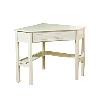Target Marketing Systems Wood Corner Desk With One Drawer And One Storage  Shelf, Antique White