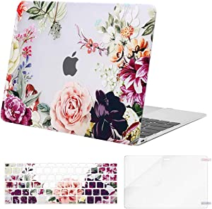 MOSISO Compatible with MacBook 12 inch Case with Retina Display (Model A1534, Release 2017 2016 2015), Plastic Rose Leaves Hard Shell Case & Keyboard Cover & Screen Protector, Transparent
