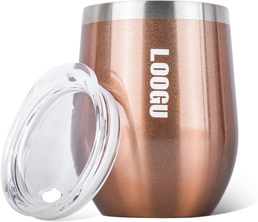 GoYonder 10 oz Portable Stainless Steel Wine Glass Tumbler with Lids Stemless Insulated Double Wall Vacuum Tumbler Mug for Coffee Champagne(Rose Gold )