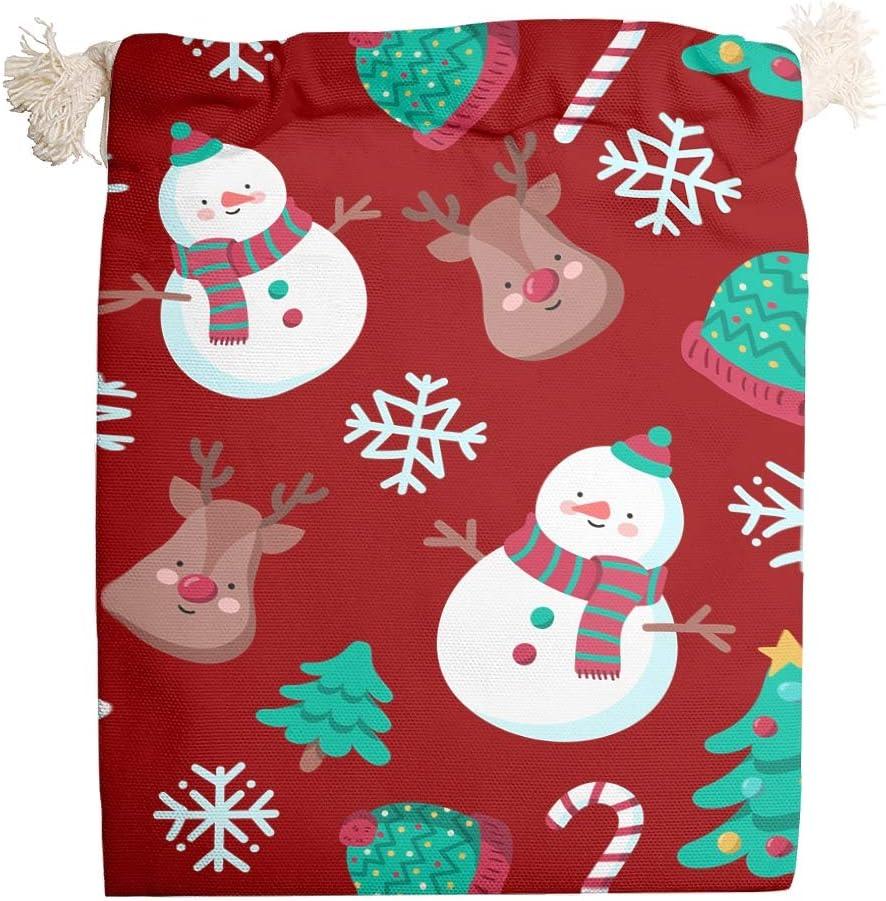 Toomjie 5 paquetes de bolsas de lona para árbol de Navidad de Año Nuevo para boda reutilizable fiesta Favor bolsa doble cordón de algodón blanco 12 x 18 cm