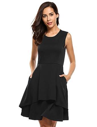3e641c55c7f ELESOL Women s Summer Casual Pockets Ruffle Sleeveless Mini Fit and ...