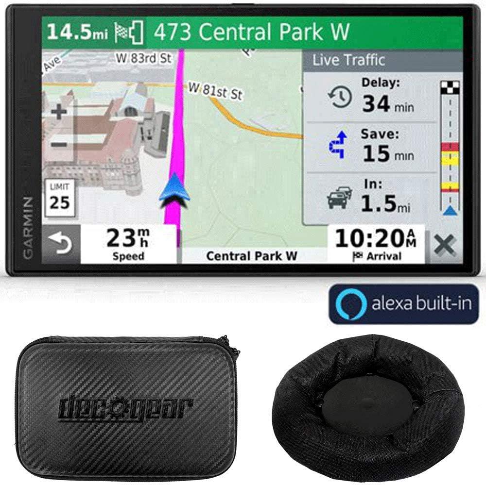 Garmin DriveSmart 65 Premium Navigator w/Amazon Alexa Bundle with Deco Gear Universal Weighted GPS Dash-Mount and Deco Gear Hard EVA Case