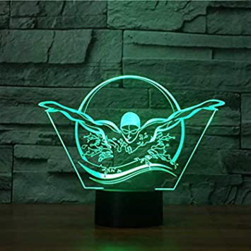 Amazon.com: 3d natación Luz de noche mesa computadora ...