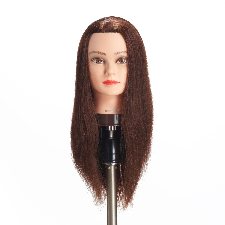 Hairginkgo Mannequin Head 20 -22 100% pelo Humano Cabeza de maniquí Cabeza de entrenamiento de peluquería Cosmetología Cabeza de muñeca para estilizar la práctica de trenzado de corte de tinte con soporte de abrazadera (91813LB0214)