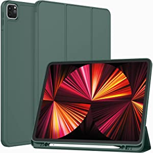 ToaPoia Case for iPad Pro 11 Inch Case 2021(3rd Gen) with Pencil Holder, Premium Protective Case Cover with Soft TPU Back and Auto Sleep/Wake Feature for 2021 iPad Pro 11(Midnight Green)