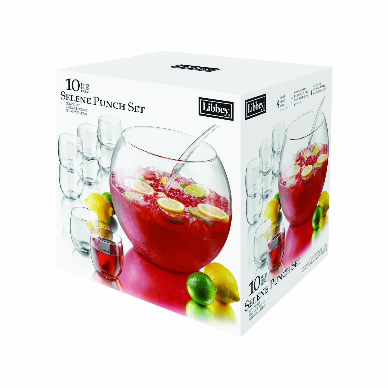 13-1/2 Quart Capacity Punch Bowl with Eight 11-ounce Capacity Punch Cups