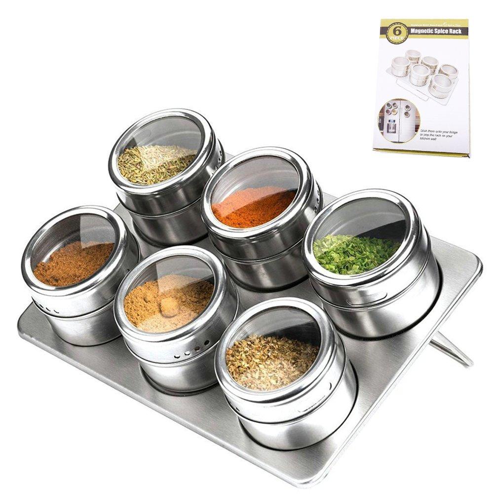 Naledi magnetica portaspezie 6pcs cucina in acciaio INOX condimento serbatoio multiuso Round Storage set porta spezie