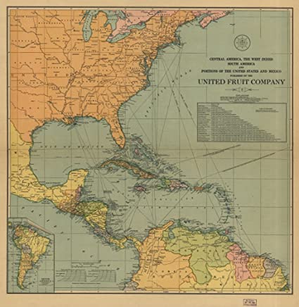 Amazon.com: Vintage 1909 Map of Central America, the West ...