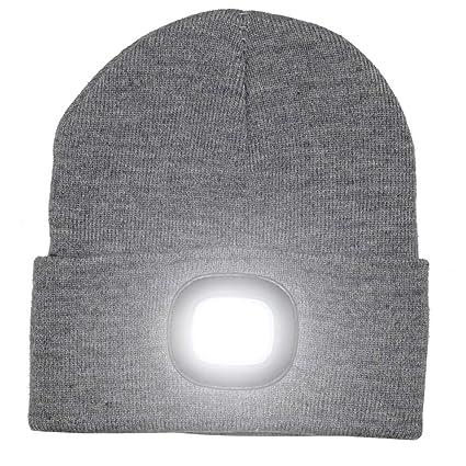 Gorra con luces LED brillantes recargables para la caza, acampada, parrilla, gris