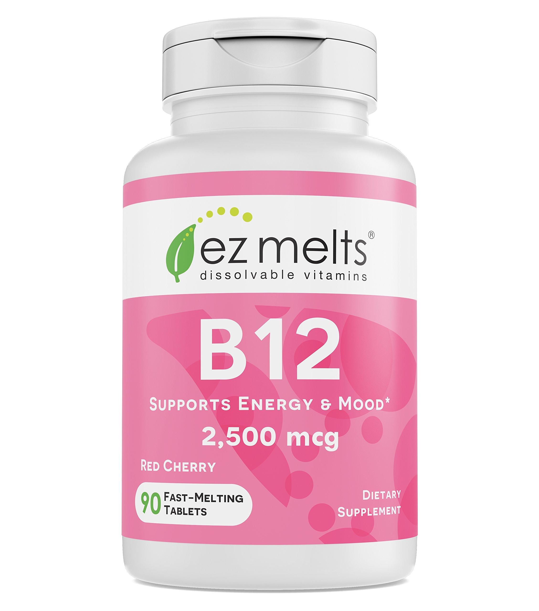 EZ Melts B12 as Methylcobalamin, 2,500 mcg, Sublingual Vitamins, Vegan, Zero Sugar, Natural Cherry Flavor, 90 Fast Dissolve Tablets by EZ Melts