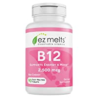 EZ Melts B12 as Methylcobalamin, 2,500 mcg, Sublingual Vitamins, Vegan, Zero Sugar...