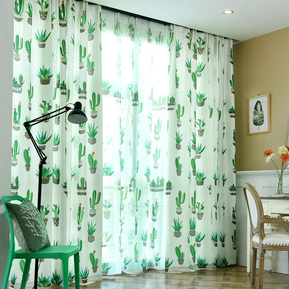 Blackout Curtains 2 Panel Window Treatment for Living Room Bedroom Decor White Green Cactus Floral Room Drapes Panel for Teens Girls,52 x 84 Inches