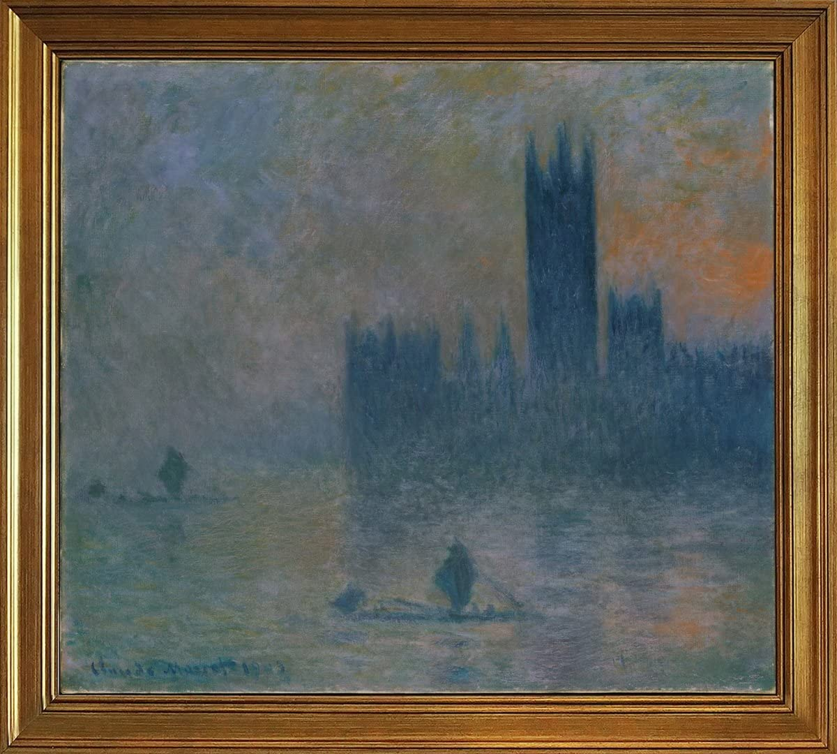 Amazon Com Berkin Arts Classic Framed Claude Monet Giclee Canvas Print Paintings Poster Reproduction Houses Of Parliament Effect Of Fog Posters Prints