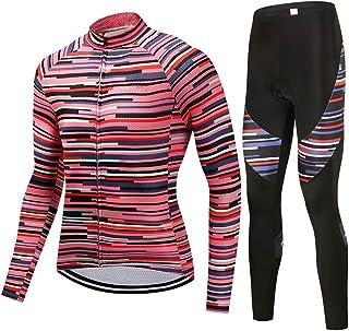 puerhki Tuta da Ciclismo Maschi Felpa Set Camicia a Maniche Lunghe + Pantaloni da Ciclismo Tuta da Ciclismo Adatto per Il Ciclismo Sportivo