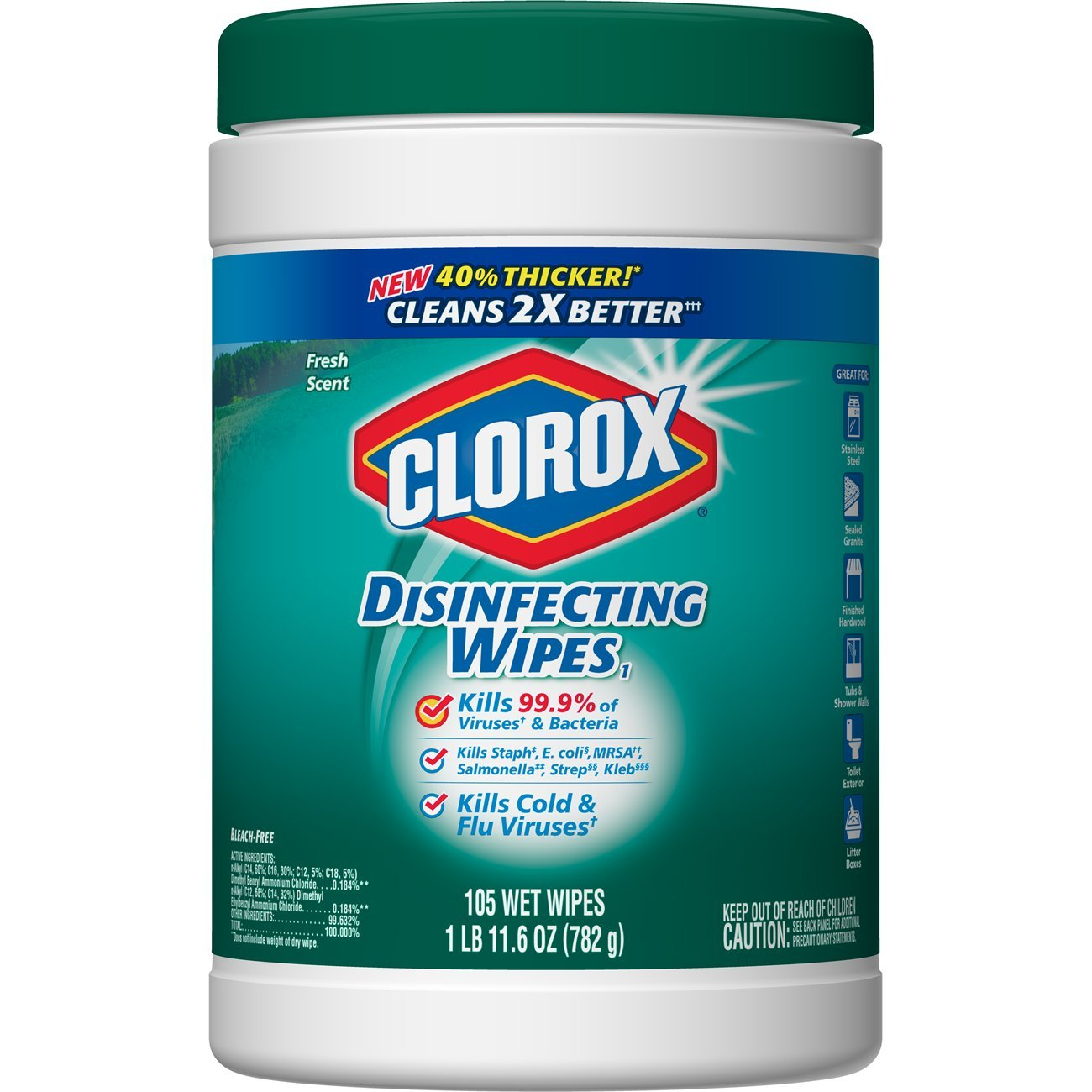 Clorox Disinfecting Wipes, Fresh Scent - 4 Pack - 105 Each (Packaging May Vary)