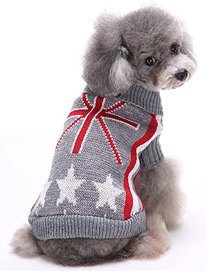 Amazon Sweaters Clothes For Dogs Ribbed Knit Sweater Uk Flag