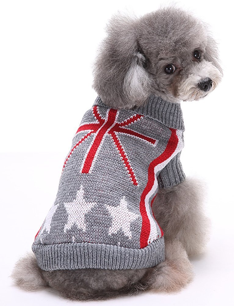 Sweaters Clothes For Dogs Ribbed Knit Sweater UK Flag Pattern Turtleneck Dog Sweaters for Puppy 7'' Back Length, X-Small