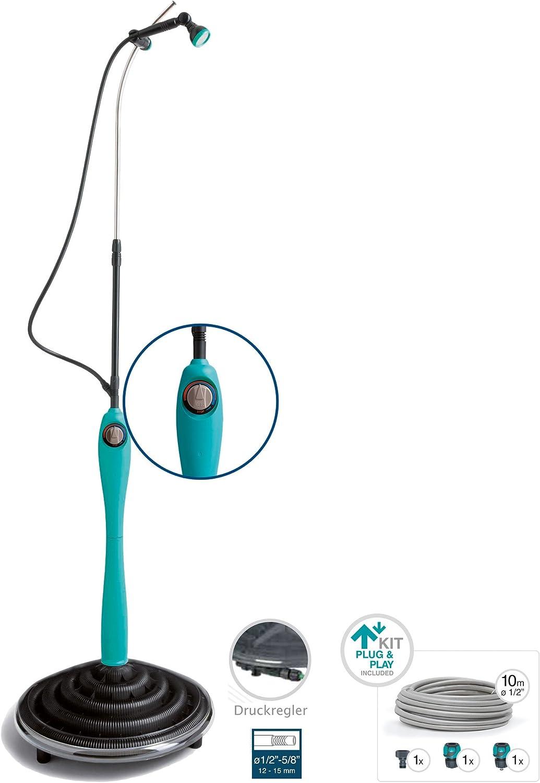 Pooldusche mit individuell verstellbarem Duschkopf Solar Dusche Komplettset anschlussfertig Blaue Gartendusche mit UV-best/ändigem Wassertank G.F Solardusche Sunny Premium