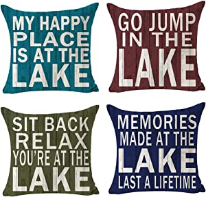 SOPARLLY Set of 4 Outdoor Happy Holiday My Happy Place is at The Lake Pillows Cotton Linen Decorative Home Office Throw Pillow Case Couch Cushion Cover 18X18 inches
