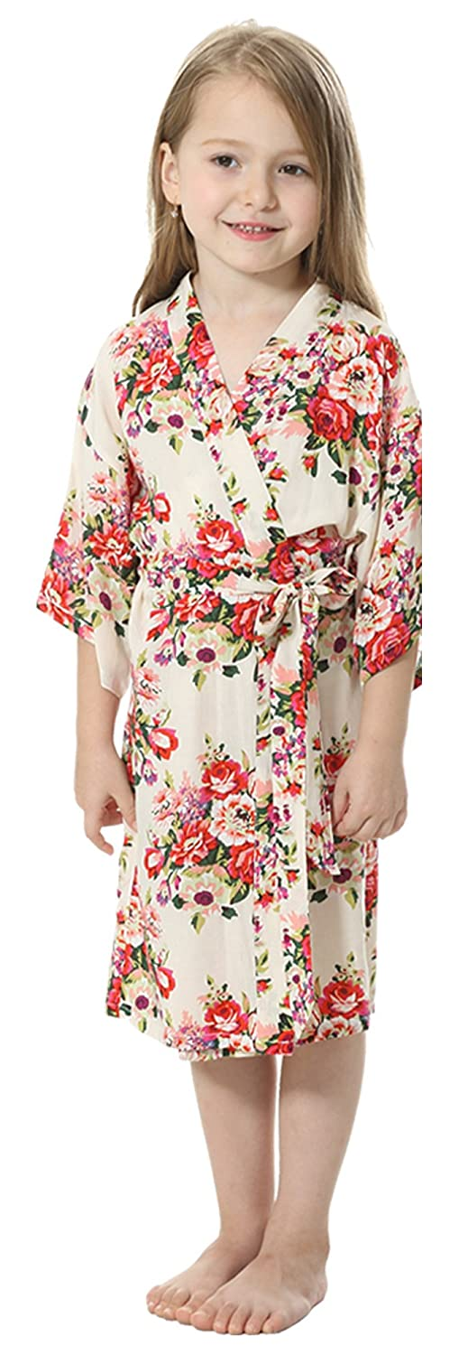 JOYTTON Girl's Cotton Floral Kimono Bathrobe Flower Girl Getting Ready Robe