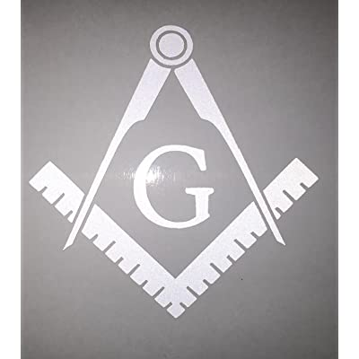 "Masonic Series Freemason Compass Square Decal Sticker | Reflective White | 3"" X 3"" 