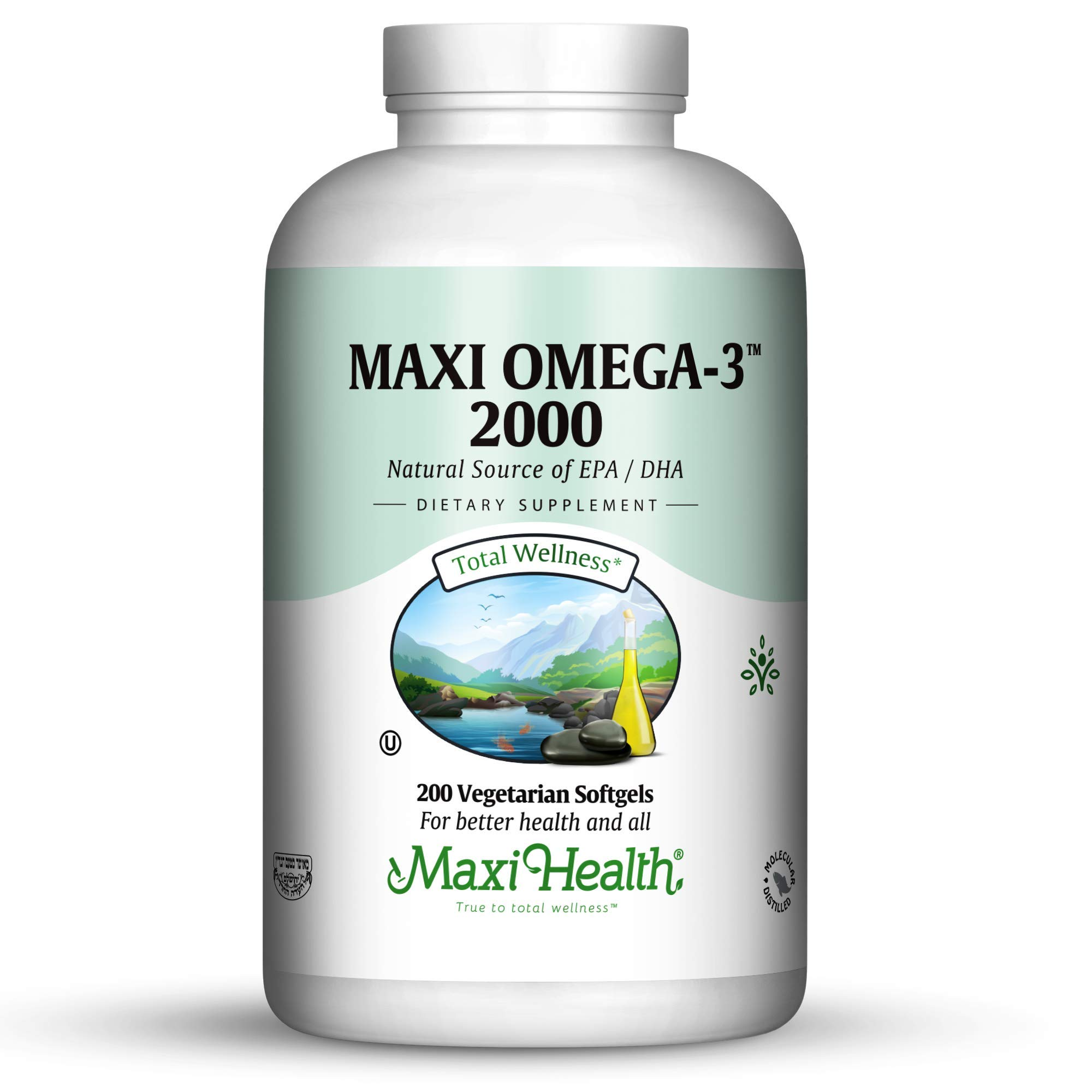 Maxi-Health Fish Oil Omega 3- 2000 mg - Natural Source of DHA/EPA Fatty Acids - Healthy Blood Pressure, Heart and Immune Support - 200 Vegetarian Softgel Capsules - Kosher Supplement
