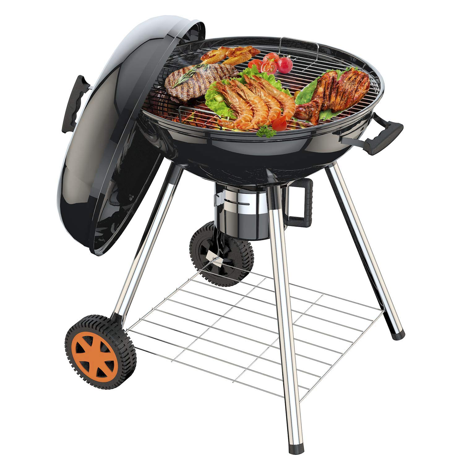TACKLIFE Portable Charcoal Grill 22.5 inch Grill, Kettle Portable Camping Charcoal Grill with Sturdy Barbecue Cover,Enjoy Your Outdoor Life