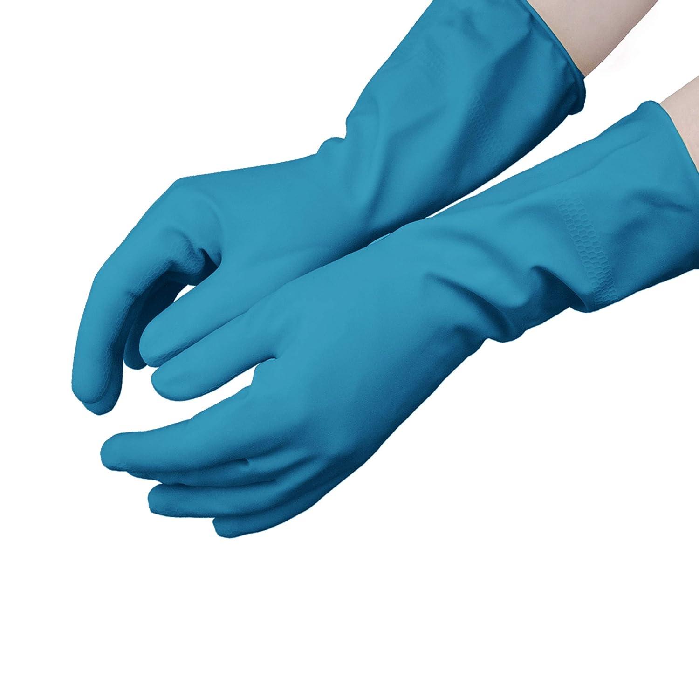 Talla: M Hevea Color: azul Paquete de 12 pares mediana Guantes de nitrilo clorinados para uso dom/éstico