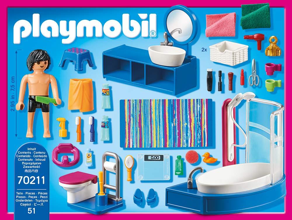 one Size ab 4 Jahren Playmobil 70211 Dollhouse Badezimmer bunt