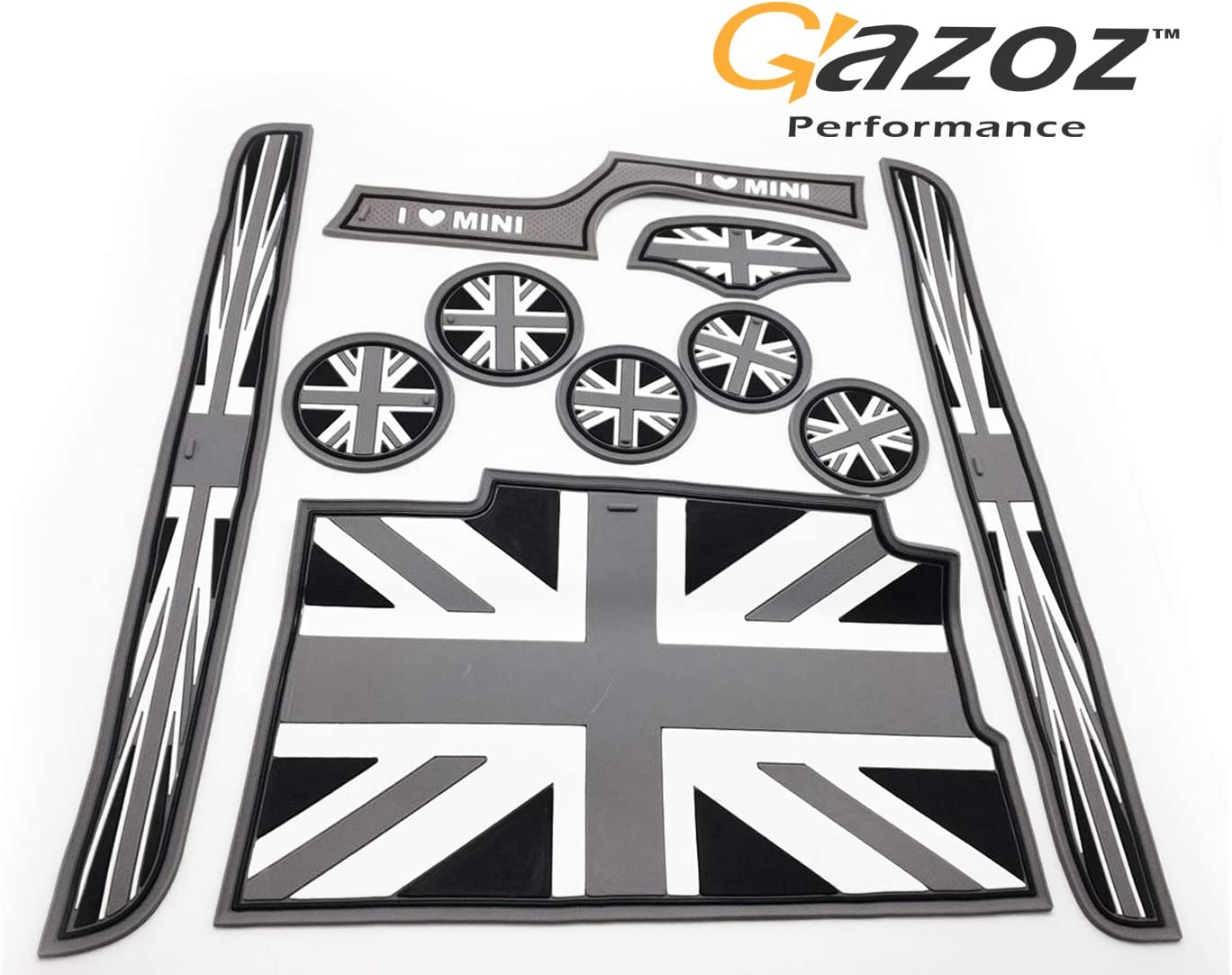 Black Grey Union Jack UK Coasters Cup Holders Side Door Mats for Mini Cooper 2