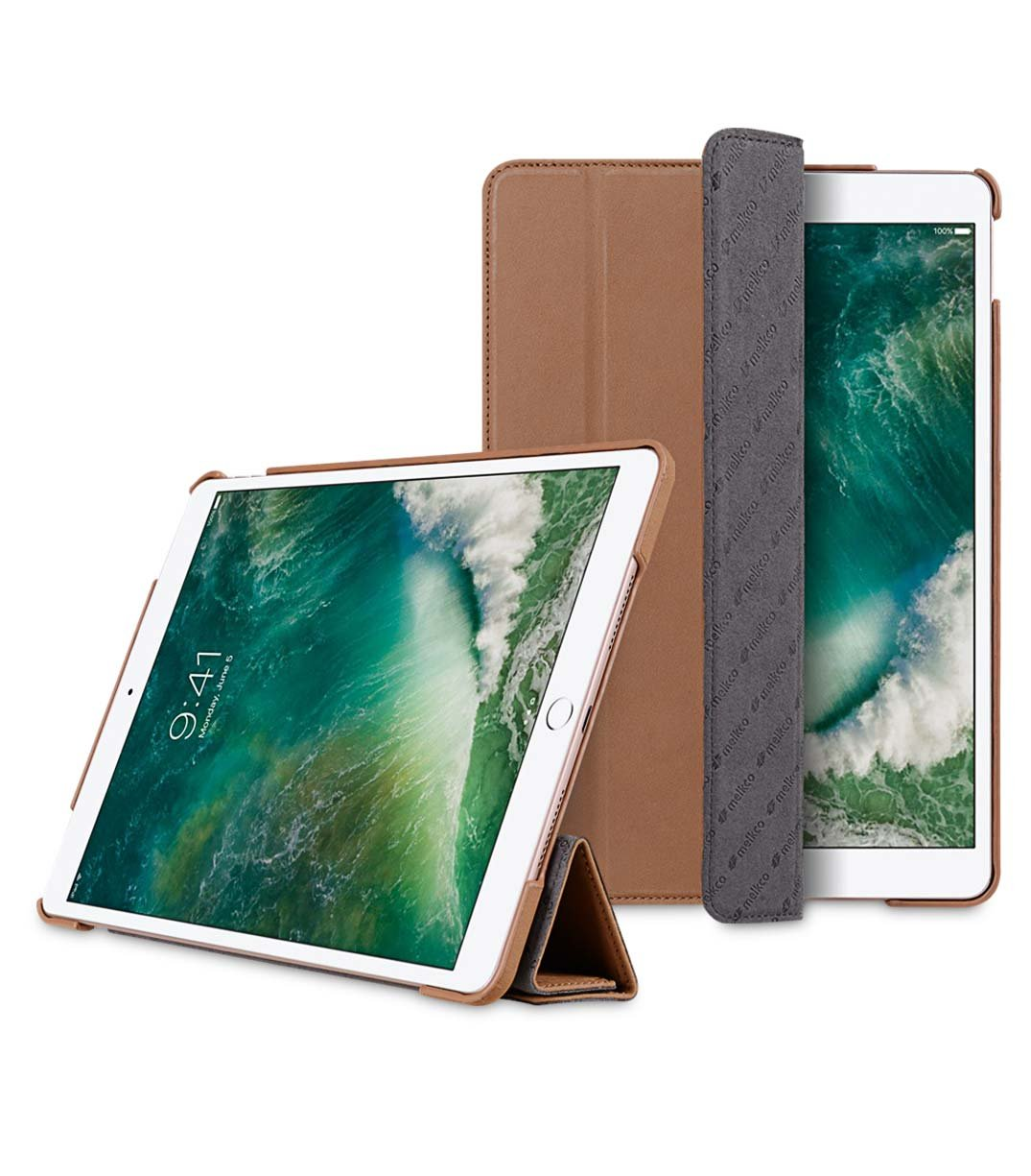 Melkco Premium Leather Case for Apple iPad Pro 10.5'' - Slimme Cover Type - With Sleep Mode Function ( Classic Vintage Brown ) - MEL-MA15SC1VBSD