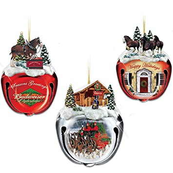 Budweiser Clydesdales Sleigh Bells Christmas Tree Ornaments: Set Of Three  by Hamilton Authenticated - Amazon.com: Budweiser Clydesdales Sleigh Bells Christmas Tree