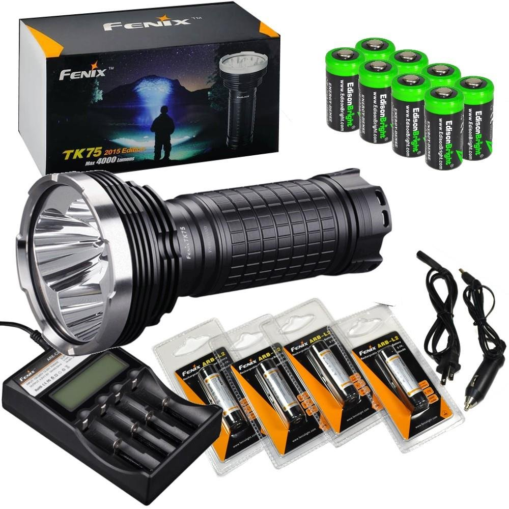 FENIX TK75 4000 Lumen 2015 Edition Triple CREE XM-L2 U2 LED Flashlight/Searchlight with 4X Fenix ARB-L2 18650 2600mAh Li-ion rechargeable batteries, EdisonBright 4 bay intelligent home/car Charger and eight EdisonBright CR123A lithium batteries bundle by Fenix
