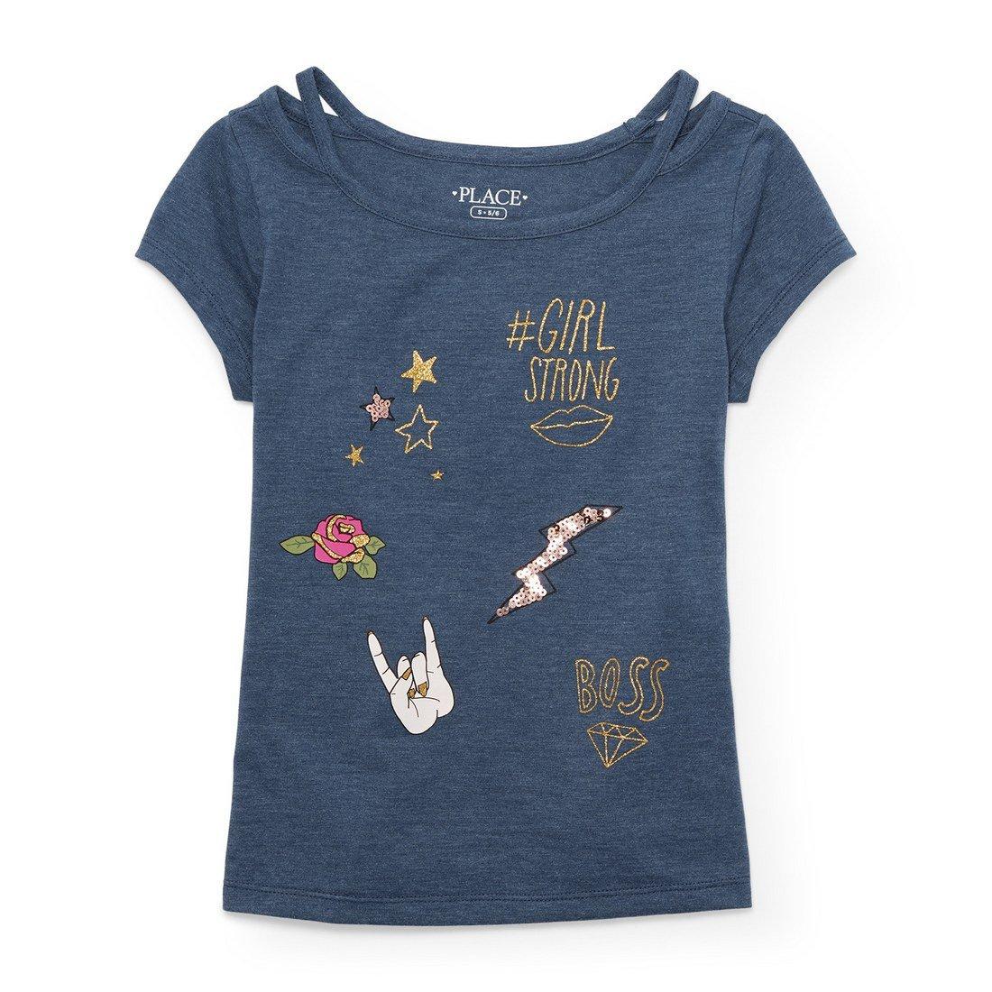 The Children's Place Big Girls' Short Sleeve Fashion Top, Mystic Falls 4215, M (7/8)