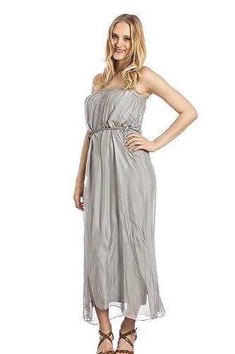 Abbino Luna Vestito Donna Ragazze – Made in Italy – 3 Colori – Mezza Stagione Primavera Estate Autunno Uni Signore Vestito Donna Classico Libero Casual Classico Eleganti Puro – Grigio