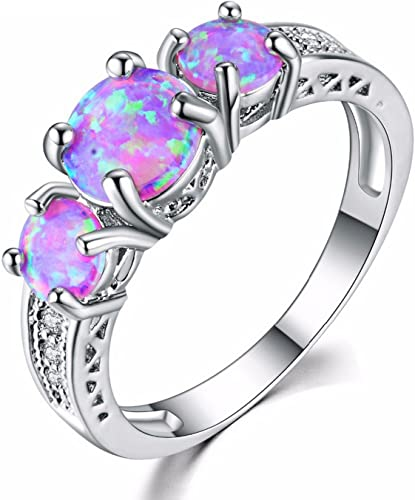 Cherryn Created Pink Opal Purple Zircon Black rose gold engagement ring womens fashion rings